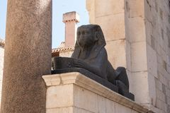Sphinx in Diocletian`s Palace. Sphinx i Diocletian`s Palace - famous UNESCO World Heritage Site. Split - Croatia Royalty Free Stock Photo