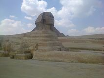 The Sphinx infront of the pyramids - world wonders royalty free stock photo