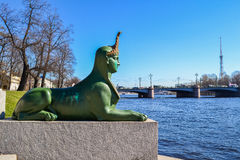 The Sphinx at the Kamennoostrovsky bridge. The sculpture of the Sphinx in St. Petersburg. The sculpture is located on a rocky island on the Malaya Nevka stock photography