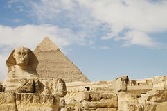 Sphinx & Khafre Pyramid - Egypt Stock Photo