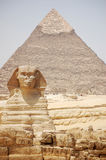 The Sphinx & Khafre's Pyramid in Egypt. Front view of the Sphinx & Khafre's Pyramid in Egypt Stock Photo