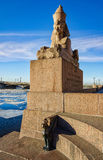 The Sphinx monument at the University embankment. Stock Image