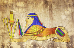 Sphinx - mythical creature. Image of the Sphinx - mythical creature of ancient Egypt - like mural painting royalty free stock images