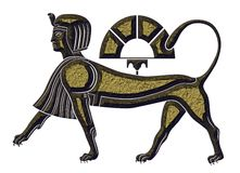 Sphinx - mythical creature of ancient Egypt. Sphinx - statuette of the mythical creature of ancient Egypt Stock Photo