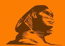 Sphinx no fundo alaranjado Fotos de Stock Royalty Free