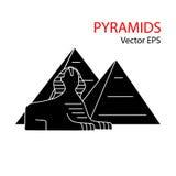 Sphinx och pyramid stock illustrationer
