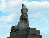 Sphinx. One of two ancient Egyptian sphinxes in St. Petersburg Stock Photos