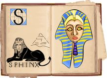 Sphinx. Open book with letter S with Sphinx Stock Image