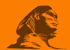 Sphinx on orange background Royalty Free Stock Photos
