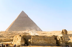 Sphinx and pyramid stock photo