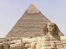 Sphinx and pyramid 2. Sphinx of Giza (Giseh) and Cheops pyramid Royalty Free Stock Image