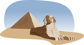 Sphinx and Pyramid. Illustration with the sphinx and the pyramid Stock Photos