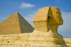Sphinx and Pyramid Royalty Free Stock Image