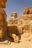 Sphinx and pyramid. In Giza, Cairo, Egypt Royalty Free Stock Photo