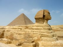 Sphinx and Pyramid. In Giza, Egypt Stock Images