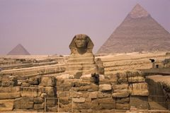 Sphinx and pyramid Cairo Stock Photo
