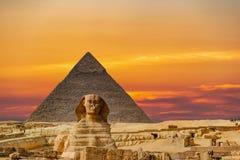 Culmination of a journey through Egypt: the Giza Shpinx with Chephrenpyramide royalty free stock image