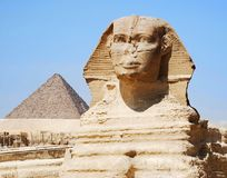 The Sphinx and pyramid in Cairo stock photography