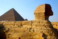 Sphinx and Pyramid of Cheops Royalty Free Stock Image