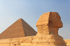 Sphinx and the Pyramid of Cheops at Giza Stock Photography