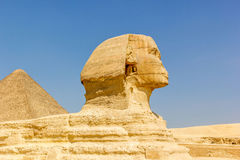 Sphinx and pyramid of Cheops Royalty Free Stock Photo