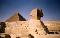 Sphinx and pyramid. Egypt Stock Photos