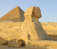 Sphinx and pyramid in Egypt Royalty Free Stock Images