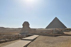 Sphinx and pyramid Egypt stock photography