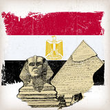 Sphinx, pyramid on Egypt flag Royalty Free Stock Images