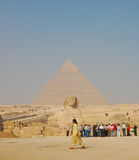 Sphinx and Pyramid of Giza Stock Photography