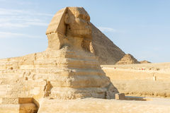 Sphinx and pyramid of Giza Royalty Free Stock Photo
