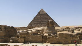 Sphinx and pyramid in Egypt. The sphinx and pyramid in Giza Egypt stock video