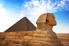 Sphinx. And Pyramid Giza, Egypt. The Great Pyramid of Giza is one of the original Seven Wonders of the World stock photo
