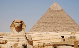 The Sphinx and pyramid of Kefren in Cairo, Giza, Egypt royalty free stock images