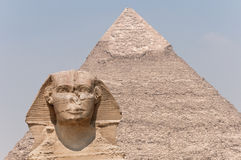 The Sphinx and the  Pyramid of Khafre. Lined up on the slope of the Pyramid Royalty Free Stock Photography
