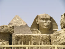 The Sphinx and Pyramid of Khafre Stock Photos
