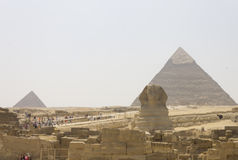 The Sphinx and the pyramid of Khafre and Menkaure Stock Photos