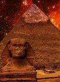 Sphinx, Pyramid of Khafre and small Magellanic Cloud (Elements o. Photo-montage of Great Sphinx of Giza, Pyramid of Khafre and small Magellanic Cloud (Elements Stock Photography