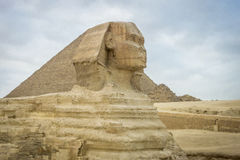 The Sphinx and Pyramid of Khufu Royalty Free Stock Photos