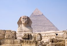 Sphinx and Pyramid of pharaoh Chephren Royalty Free Stock Image