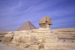 Sphinx and the Pyramides of Gizeh Stock Image