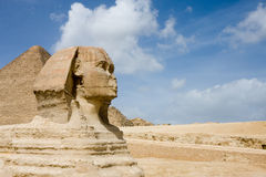 Sphinx and Pyramids. The Sphinx and Great Pyramids in Giza, Egypt stock photography