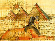 Sphinx and pyramids Stock Images