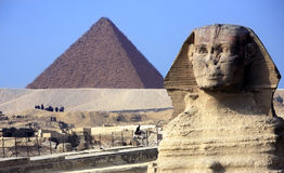 The sphinx & the pyramids Royalty Free Stock Photo