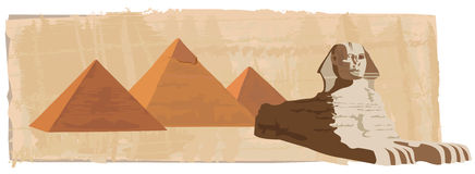 Sphinx and the Pyramids. Background illustration with the sphinx and the pyramids Stock Images