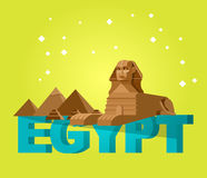 Sphinx and pyramids background. Travel vector Stock Images