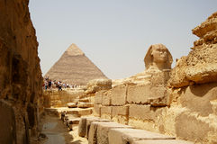 The Sphinx and Pyramids in Egypt, tourist view. Stock Photography