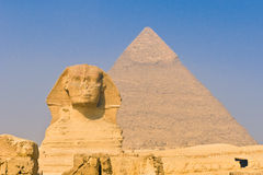 Sphinx and pyramids at Giza, Cairo. Egypt Royalty Free Stock Photo