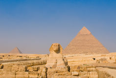 Sphinx and pyramids at Giza, Cairo Stock Images