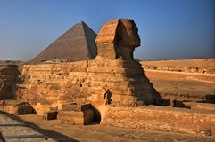 The Sphinx and the Pyramids in Giza, Egypt Royalty Free Stock Images